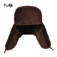ingrosso cappello di pelliccia marrone-HL174-F bomber da uomo in vera pelle con paraorecchie Russo invernale Cuffie paraorecchie in pelliccia sintetica marrone nero
