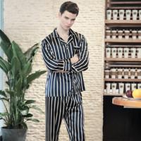 pantalones de satén de seda al por mayor-SSH0142 Satin Silk Mens Pajama 2018 Ropa de dormir a rayas Ropa de dormir Marca 2 Piezas Conjunto de pijama Primavera Otoño Full Sleeves Pant Pijama