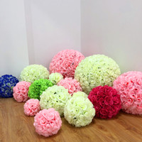 Wholesale fake garden flowers - 18 Color Artificial Silk Flower Rose Balls 6 24 Inch Fake Roses Kissing Ball Wedding Decoration Rose for Wedding Garden Party