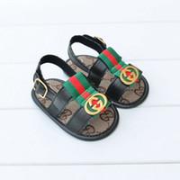 ingrosso sandali bambino prima-Scarpe estive per bambini PU Scarpe per bambini appena nate Cartone animato per prime camminatore Scarpe antiscivolo per bambini