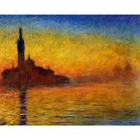 venise peintures à l'huile achat en gros de-Peinture à l'huile peinte à la main de Claude Monet sur toile Twilight, art moderne de Venise