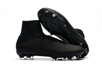 Wholesale Football Height - 2018 New Arrival Full Black Soccer Cleats Mercurial Superfly Kids Soccer Shoes High Ankle Cristiano Ronaldo Mens Womens Football Boots