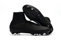 nuevos zapatos del fútbol de la llegada al por mayor-2018 Recién llegado de color negro Cleats de fútbol Mercurial Superfly Kids Soccer Shoes Tobillo alto Cristiano Ronaldo para hombre para mujer Botas de fútbol