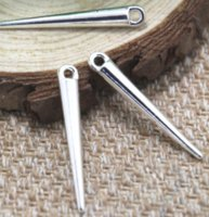 Wholesale plated spike pendant for sale - Group buy 15pcs spike Charms silver tone spike charm pendant x5mm