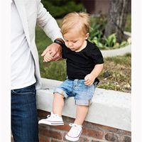 Wholesale children clothing boy black jeans for sale - Group buy Summer baby boy Clothing Sets Children solid Black Cotton Short Sleeve T Shirt Jeans short Suit Kids casual Clothes set