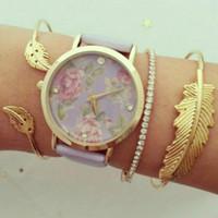 bracelet manchette bohème métal achat en gros de-(Aucune montre) 11.11 CHAUD Vieux Métal Manchette Bracelets Simple Géométrique Feuille Noeud En Métal Bohème Rétro Bracelet Bijoux 2018 Nouveau
