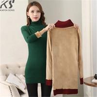 ingrosso maglioni di pile calde-lunghe donne maglione spesso pile avvertono biancheria intima maglione modello sottile maglione caldo inverno signora panno di buona qualità
