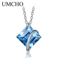 швейцарские ювелирные изделия оптовых-UMCHO 3.4ct Genuine Natural Swiss Blue Topaz Gemstone Pendants Necklaces For Women Pure 925 Sterling Silver Necklace Jewelry