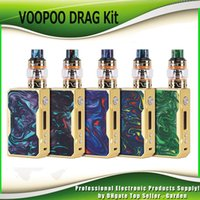 Wholesale framing kits - Original VOOPOO DRAG 157W TC Resin Starter Kits TC Gold Frame Box Mod with 5ml UFORCE Tank Atomizer Dual 18650 Battery Kit 100% Authentic