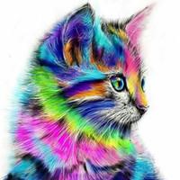 bild ebenen großhandel-DIY Malen nach Zahlen Kits für Erwachsene Kids Home Zeichnung Lackierung 16x20 Zoll, Rainbow Cat Decor Dekorationen Geschenke