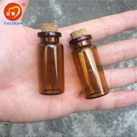 ingrosso piccoli tappi di bottiglie-22 * 50 * 12,5 mm 10 ml di bottiglie di vetro ambrato con piccoli vasetti vuoti Carino 10 ml di vetro tappi di bottiglia fiale 100 unità bottiglia Spedizione gratuita