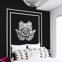 autocollants muraux amovibles islamiques achat en gros de-Arabe Islamique Hamsa Mains Autocollant Mural DIY Amovible Art Home Decor de parede adesivo Vinyle Wall Decal Pour Chambre
