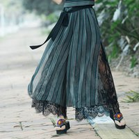 falda femenina pantalones al por mayor-Nueva Plus tamaño de moda de verano mujeres a rayas de pierna ancha de encaje arco vestido suelto pantalones femeninos ocasionales falda pantalones Capris Culottes