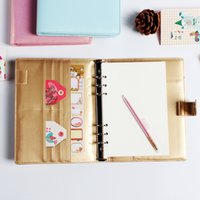 Wholesale Leather A5 Notebook - Macaron cute office school leather spiral notebook stationery,6 holes binder person agenda organizer daily weekly planner A5 A6