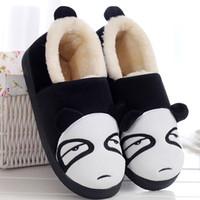 sapatas lisas do inverno bonito venda por atacado-Algodão Inverno Panda Sapatos Mulheres Chinelos Planas Slip-on Sapatos Femininos Bonito Casal