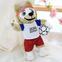 Wholesale animal world toys - Best Quality Zabivaka Plush Toy Stuffed World Cup 2018 Russia Mascot Stuffed Soft Football Game The Wolf Animals Toy Football Match Gift