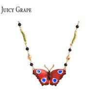 gargantillas de oro 14k al por mayor-2018 Red Buttfly Necklace Jewelry Galvanoplastia 14K Oro Para Cobre Esmalte Collar Gargantilla Gargantilla Para Mujeres