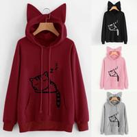 Wholesale cat woman blouse - Cute Womens Cat Ear Girls Hoodie Sweatshirt Hooded Coat Long Sleeve Blouse
