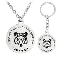 Wholesale Steel Wolf Ring - Fashion Necklace Stainless Steel I am a Wolf Never Quit Never Give Up Necklace Key Chain Key Rings Fashion Jewelry Drop Shipping