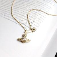 collar de perlas colgante al por mayor-925 plata esterlina pin Planet zircon colgante collar oro moda creatividad exquisito planet collar para mujer joyería fina
