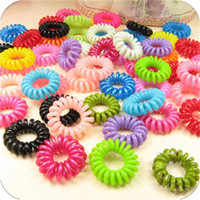 Wholesale telephones accessories online - Telephone Coil Head Rope Candy Color Woman Girls Ponytail Holders Circle Elastic Rubber String Hair Ring Ornaments Party Favor sx bb