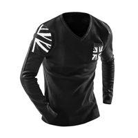 medidor hombre al por mayor-Sweater Men 2018 Marca Fashion Meter Word Flag Sweater Hombre con cuello en V Stitching Slim Menspullover Sweaters Hombre