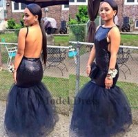 Wholesale black tull dresses for sale - Sexy Navy Blue Mermaid Prom Dresses Sleeveless Open Back Sequined Floor Length Tull Formal Evening Dress Party Gowns Custom Made