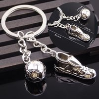 Wholesale favor shoes - 2018 Russia World Cup Football Keychain Soccer Shoes Football Ball Metal Keychain Key Chains Ring Gift for Footbal Fans