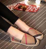 schlüpfen großhandel-Frauen Loafers Espadrilles berühmten klassischen Custom Damen Mode Marke Herz Muster Plaid Leinwand Einfache Straße schießen elegante Wohnungen