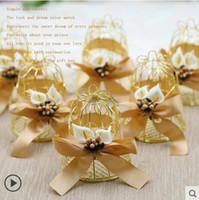Wholesale wedding favor bell box - Candy box Creative Bird net Wedding decoration Gold Small bell binnon Silk ribbon Artistic Pearl Lily