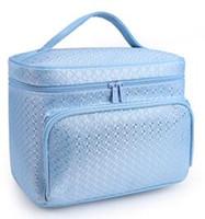 ingrosso sacchetto di plaid genuino-Sacchetto cosmetico delle donne sacchetti di trucco genuini del cuoio progettista famoso di marca che compone la grande borsa dell'itinerario di viaggio dell'organizzatore di viaggio della borsa top quality