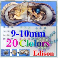 Wholesale vacuum packing - free shipping 10pcs giant 9-10mm Colored Edison round grade A pearl in oyster with vacuum packing
