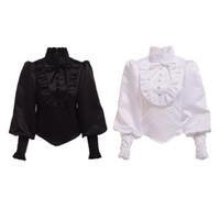 schwarze rüschenbluse frauen groihandel-Hohe Qualität Vintage Victorian Gothic Black Bluse Lolita Stil Romantisches Hemd Tops Rüschen Reenactment für Frauen