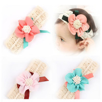 Wholesale Wide White Headband - Headband Lovely Princess Style Oversized Flower Bow Lace Headwear Hair Wide Bands Hair Accessories w--076