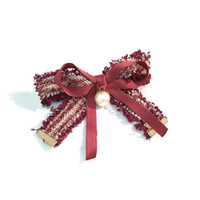 springs accessories NZ - Party Accessories Fabric bows pearl hair top clip horizontal clip simple temperament small incense wind spring clip hair accessories