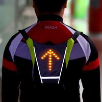 schwarze röhre mobil großhandel-Lixada USB Reflektierende Weste Rucksack mit LED Blinker Licht Fernbedienung Outdoor Sport Sicherheit Tasche Getriebe für Walking Jogging