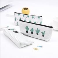 Wholesale clear cosmetics case for sale - Group buy Cactus pencil bag Pastoral Bandage Canvas Pencil Case plant Makeup Bag Zipper Cosmetic Pouch cm