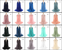 Wholesale chiffon muslim scarf - Wholesale 70*175CM Women Chiffon Shawls Islamic Wraps Muslim Frayed Crepe Premium Cotton Hijab Scarf Table Blanket Towel Home Decor