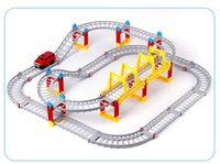 ingrosso automobili elettriche diy-Magical Railway Road Track Toys Fai da te Variety Electric Speed ​​Car Train Model Assembly Racing Rail Tracks Car Toy per bambini