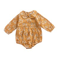 jumpsuit jaune bébé achat en gros de-ins Bébé Filles Barboteuses Jaune Floral Imprimé À Manches Longues Combinaisons Pour Enfants Infantile Printemps Automne Nouvelle Vêtements Usine Gratuit DHL A898