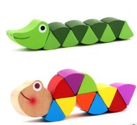 Discount educational wooden toys for kids - Colorful Wooden Worm Puzzles Kids Learning Educational Didactic Baby Development Toys Fingers Game for Children Montessori Gift