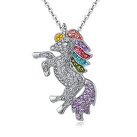 Wholesale animal free woman online - kids and women necklace colorful unicorn diamond pendant necklace children sweater chain jewellery accessories