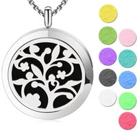 Wholesale Magnet Lockets - 10pcs 30mm plain magnet tree of life Aromatherapy Essential Oil surgical Stainless Steel Perfume Diffuser Locket Necklace with chain