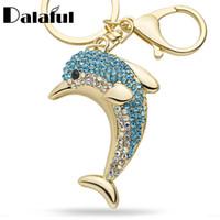 neuheit geldbörsen handtaschen groihandel-Beijia Lucky Dolphin Crystal Neuheit Tier trendy Schlüsselbund Handtasche Tasche Schnalle Handbag Anhänger für Auto Schlüsselanhänger Halter Frauen K228