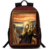 Wholesale impressionism paintings resale online - Impressionism backpack Funny style day pack Warp painting school bag Cool packsack Quality rucksack Sport schoolbag Outdoor daypack