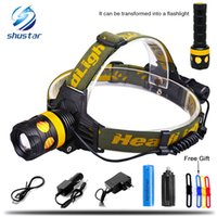 Wholesale Zoomable Cree Headlight Flashlight Led - 5000Lumens Detachable Headlamp becomes flashlight CREE XML-L2 T6 Zoomable Headlight Waterproof Head Torch Give free gift