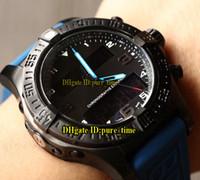 ingrosso orologio digitale quadrante nero-Aerospaziale professionale Exospace B55 EB5510H2 quadrante nero elettronico analogico LCD Display digitale Mens Watch PVD nero acciaio Bue cinturino in gomma