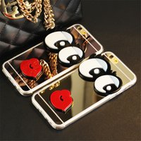 Wholesale mirror skin iphone online – custom Cute Cartoon Mirror Plating Electroplating D Big Eyes With Sexy Red Lip Phone TPU Case Cover Skin For iPhone XS Max XR X Plus S S