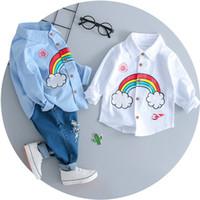 ingrosso gli insiemi dei tute dei ragazzi-Set di vestiti per bebè per bambini Set di vestiti per primaverili per bambini Set T-shirt per ragazzi dei cartoni animati + pantaloni con buco rotto