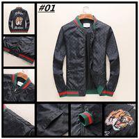 Wholesale Diamond Loose Rhinestones - 2018 newest fashion Wave Of Men Embroidery Floral Print Jacket Men Luxury Zipper Casual Loose coat medusa Jacket M-3XL